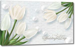 Белые тюльпаны на кирпичной стене