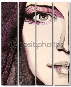 Иллюстрированный портрет красивой девушки
