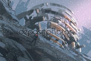 человек, стоящий на холме, наблюдая абстрактной архитектурой