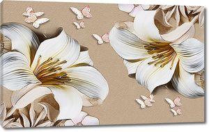 Крупные лилии с бабочками