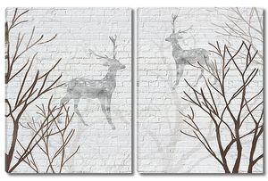 Олешки на кирпичной стене