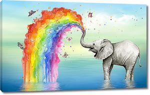 Слон радуется радуге