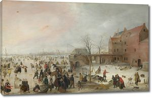 Хендрик Аверкамп. Сцена на льду возле города