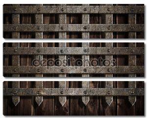 Средневековый замок стены или металлические ворота фон