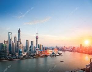 Beautiful shanghai in sunset