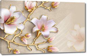 Цветы на ветке золотого цвета