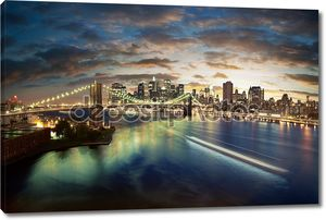 Удивительный городской Нью-Йорк - после захода солнца