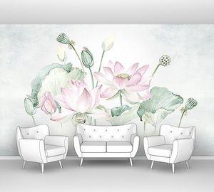 Акварельный рисунок лотосов