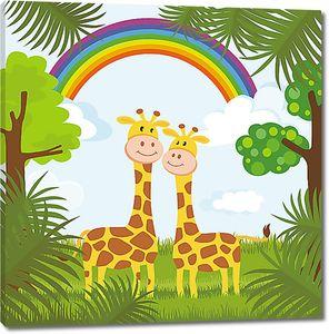 Жирафики под радугой