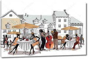 Эскиз с  красивым видом на Старый город с кафе
