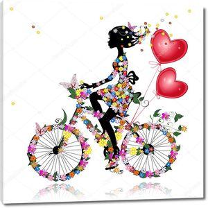 Цветочный велосипед с воздушными валентинами