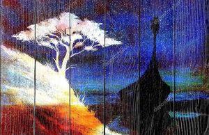 Лодка викингов и дерево на берегу