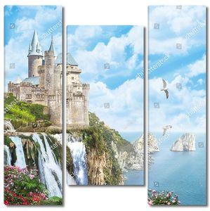 Замок на скалах с водопадами