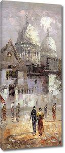 Фреска с парочками людей на главной площади
