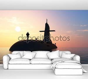 Подводная лодка и вечернее небо