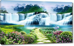 Дорожка мощеная  к водопадам