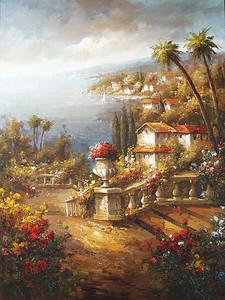 Вид с цветочной веранды на город