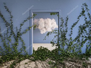 Пушистое облако в голубой комнате с зарослями плюща