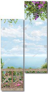 Терраса с ажурной решеткой и цветами