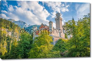 World-famous Neuschwanstein Castle on a sunny day, Fussen, Bavaria, Germany