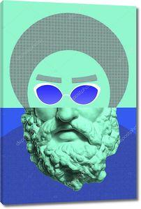 Коллаж с гипсовой антикварной скульптурой человеческого лица в стиле поп-арт. Творческая концепция красочного неонового изображения с древней головой статуи. Культура зине. Киберпанк, вебпанк и сюрреалистический постер.
