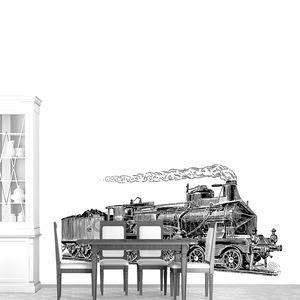 Гравюра старого паровоза