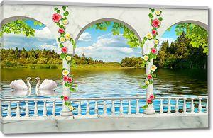 Вид на озеро с лебедями