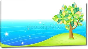 Рисунок дерева у воды
