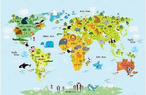 Карта мира с животными для детей