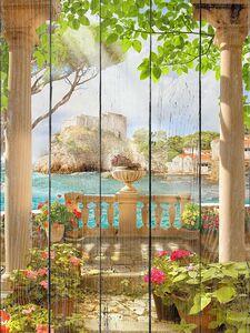 Терраса с колоннами и цветами на рассвете