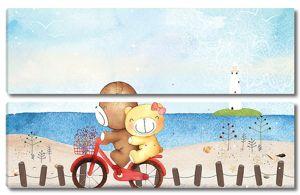Медвежата на велосипеде