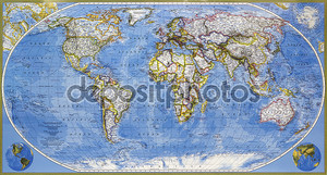 Карта планеты Земля
