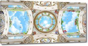 Вид на потолок и облачное небо