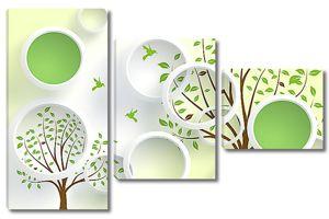 Круги с двумя деревьями