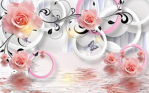 Розовые розы над водой