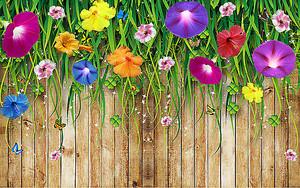 Полевые цветы на фоне забора
