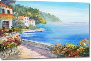 Картина маслом - дом возле моря
