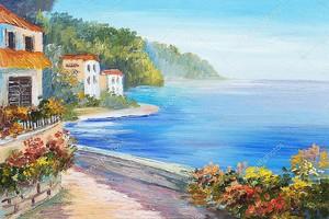 Картина маслом - дом возле моря, красочные цветы, Летний пейзаж