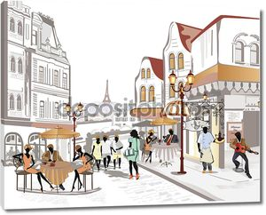 Серия улиц с кафе в Старом городе