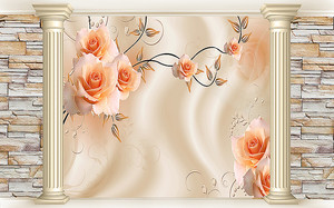 Розы на шелке между колонн