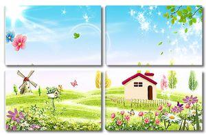 Сказочный мир с мельницей и домиком