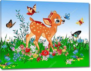 Маленький олень весной