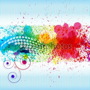 Цвет краска брызги. Вектора градиента фона на синий и whi