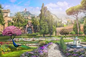 Вид на цветущий парк