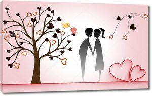 Романтическая иллюстрация, розовый фон, длинная красная лента в форме двух сердец, изогнутое дерево с сердцами мальчик и девочка держатся за руки