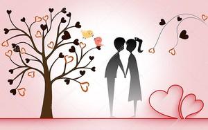 Романтическая фантазия, сердечко из ленты, влюбленные