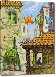 Разные кошки в различных местах Старого города Средиземноморья