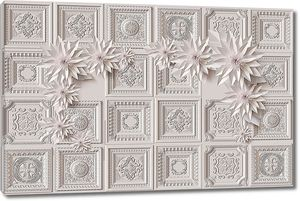 Цветы на фоне плиточек с орнаментами