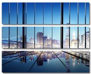 городской пейзаж здания и современный интерьер офиса номер