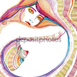 Иллюстрированный абстрактный милая девушка
